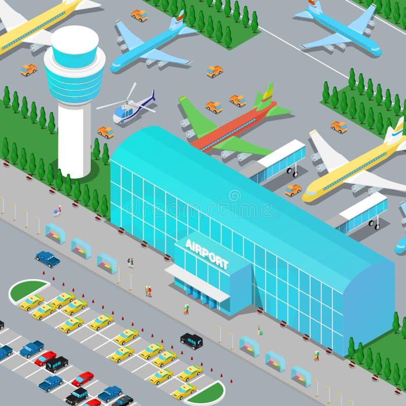 Isometric Lotniskowa infrastruktura z samolotami ilustracji