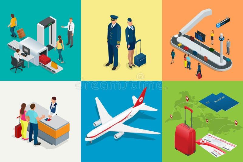 Isometric Lotniskowa podróż i przewiezione ikony Odosobneni ludzie, lotniskowy terminal, samolot, podróżnika mężczyzna i kobieta, royalty ilustracja