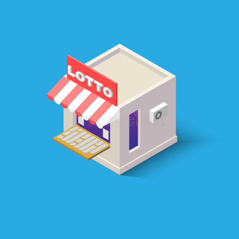 An Isometric lotto shop with stalls outside for web design online store, application and other of your project. stock images