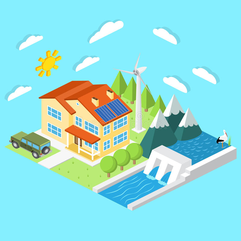 Isometric low-energy house. Wind turbine, solar panels and hydro power plant .For web design, mobile and application interface, al vector illustration