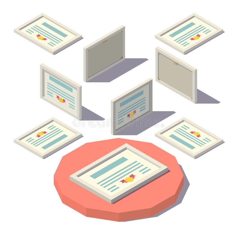 Isometric low poly Diploma royalty free illustration
