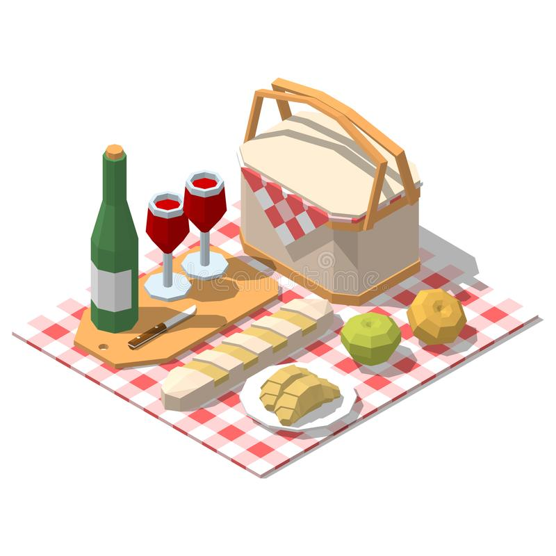 Isometric low poly picnic food set. Vector illustration vector illustration