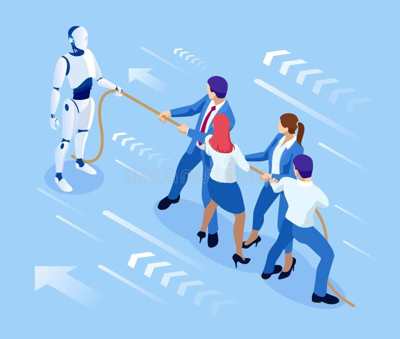 Isometric ludzie biznesu i robota bój z sztuczną inteligencją w kostiumu ciągną arkanę, rywalizacja, konflikt ilustracji