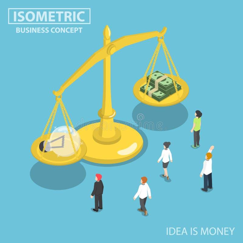 Isometric ludzie biznesu patrzeje lightbulb pomysły i mone ilustracja wektor