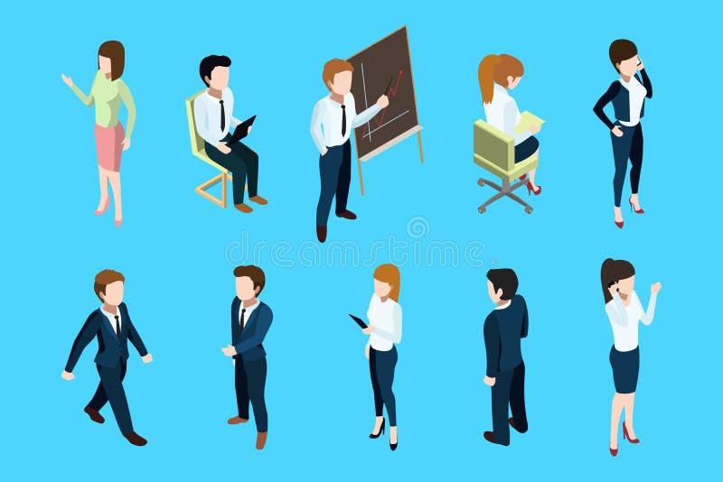 Isometric ludzie biznesu w różnych akcj pozach Duży szef i biuro drużyna abstrakcjonistycznych tła błękitny guzika kolorów glanso ilustracja wektor