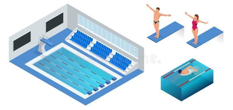 Isometric ludzie nurkuje w wodę wewnątrz pływacki basen, nurek Męska pływaczka, ten doskakiwanie i pikowanie w salowego, royalty ilustracja