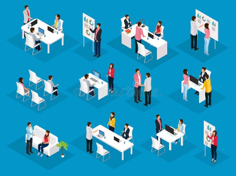 Isometric ludzie praca zespołowa setu ilustracja wektor