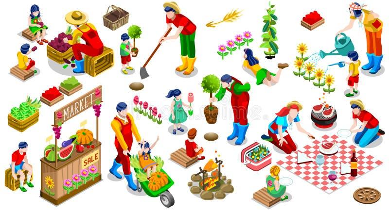 Isometric ludzie rośliny Drzewnej Rodzinnej ikony Ustalonej Wektorowej ilustraci ilustracja wektor