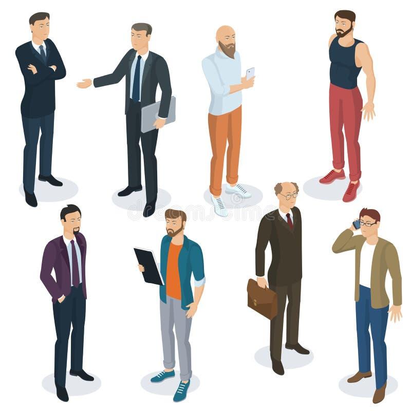 Isometric ludzie wektoru setu royalty ilustracja