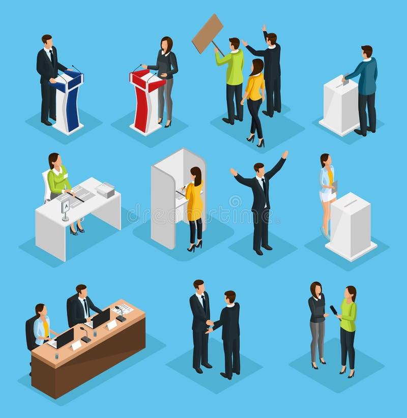 Isometric ludzie wybory setu ilustracja wektor