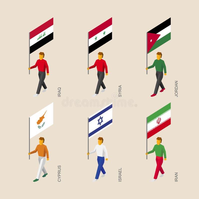 Isometric ludzie z flaga Irak, Iran, Jordania, Syria, Cypr, I ilustracja wektor