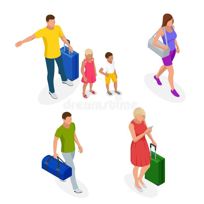 Isometric ludzie z podróżą zdosą podróżować na wakacje charakteru siatki setu wektor Aktywny odtwarzanie, wycieczkować i przygody ilustracja wektor