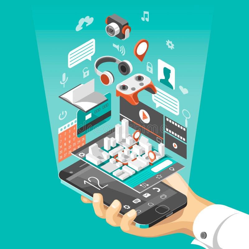 Isometric mądrze telefonu interfejs Ekran z różnymi apps i ikonami Mapa na mobilnym zastosowaniu royalty ilustracja
