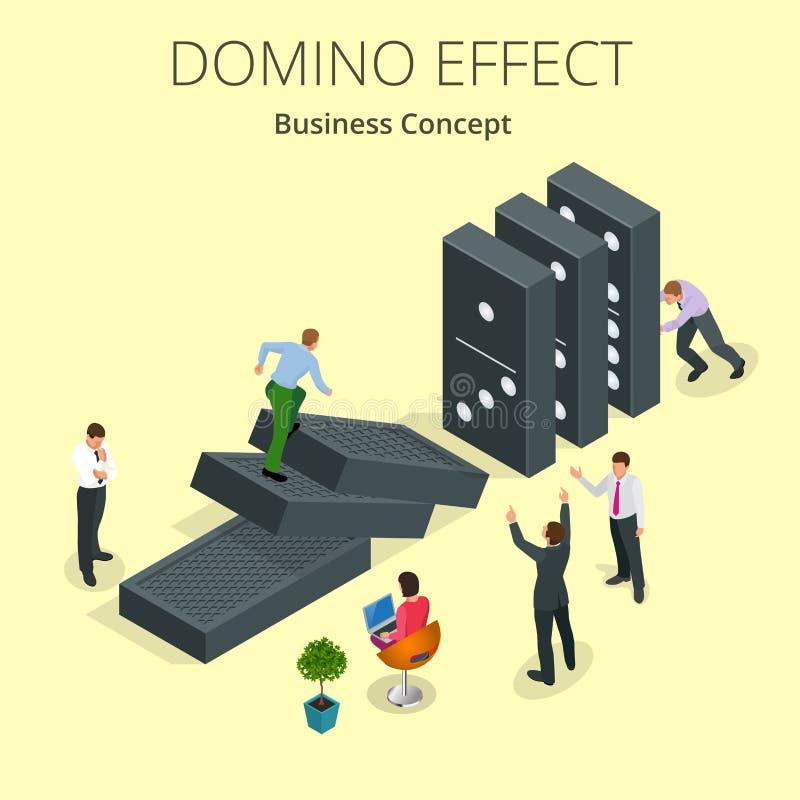 Isometric mężczyzna początku domina skutek a i reakci łańcuchowej pojęcie biznesu odosobniony metafory biel Biznesowy rozwiązanie ilustracja wektor