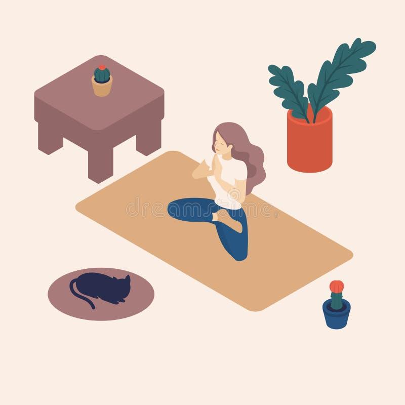Isometric młode kobiety Ich czas wolny Robi joga royalty ilustracja
