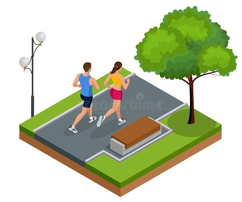 Isometric młodej kobiety i mężczyzna biegacze biega na miasto parku Sportive ludzie trenuje w obszarze miejskim, zdrowym ilustracja wektor