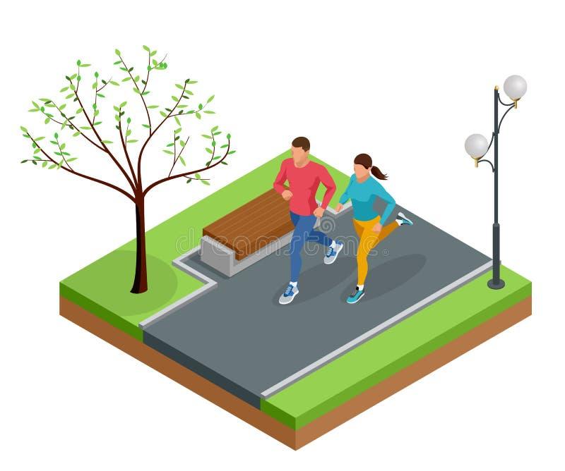 Isometric młodej kobiety i mężczyzna biegacze biega na miasto parku Sportive ludzie trenuje w obszarze miejskim, zdrowym royalty ilustracja
