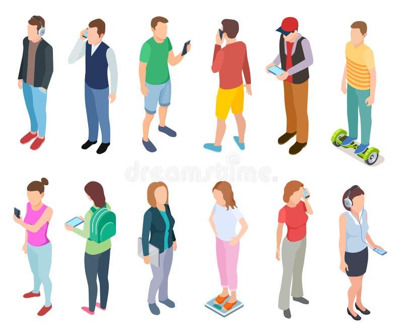 Isometric młodzi ludzie 3d mężczyzny obcojęzyczny smartphone w eleganckiego przypadkowego modnisia facetów pastylek odzieżowych m royalty ilustracja