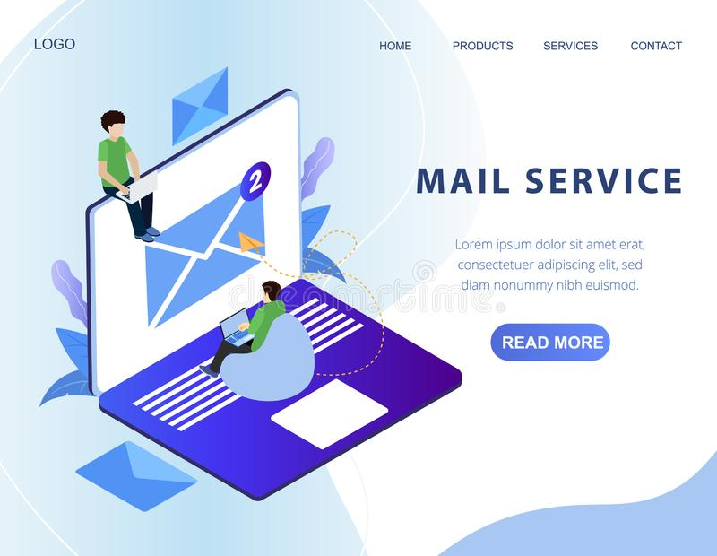 Isometric mail service web banner. Vector layout stock illustration