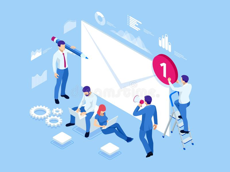 Isometric mailing list or mailing services. Online marketing and communication. Electronic mail message concept as part. Of business marketing vector illustration
