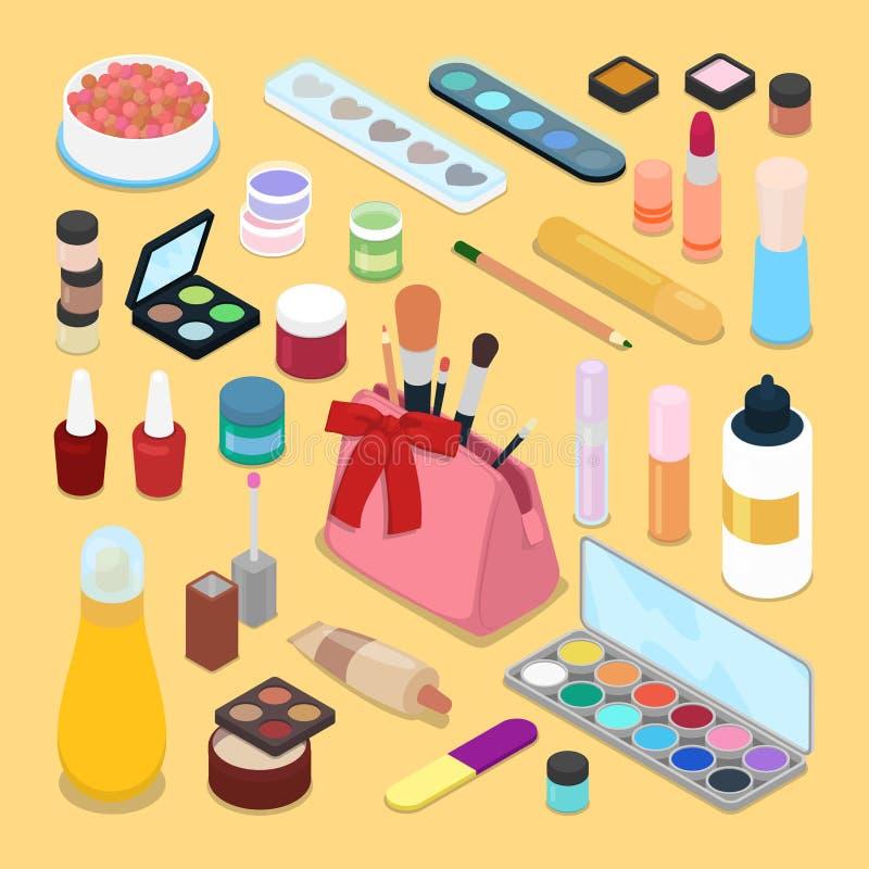 Isometric Make-up Cosmetics Products. Lipstick Mascara Nail Polish Brush royalty free illustration