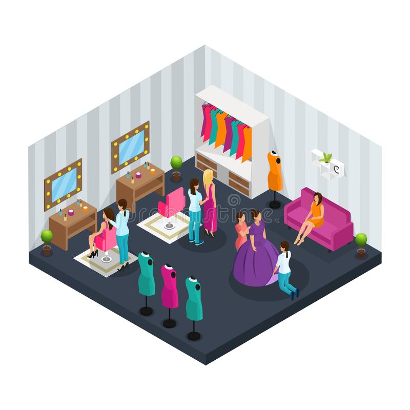 Isometric Makeup Room Concept stock illustration