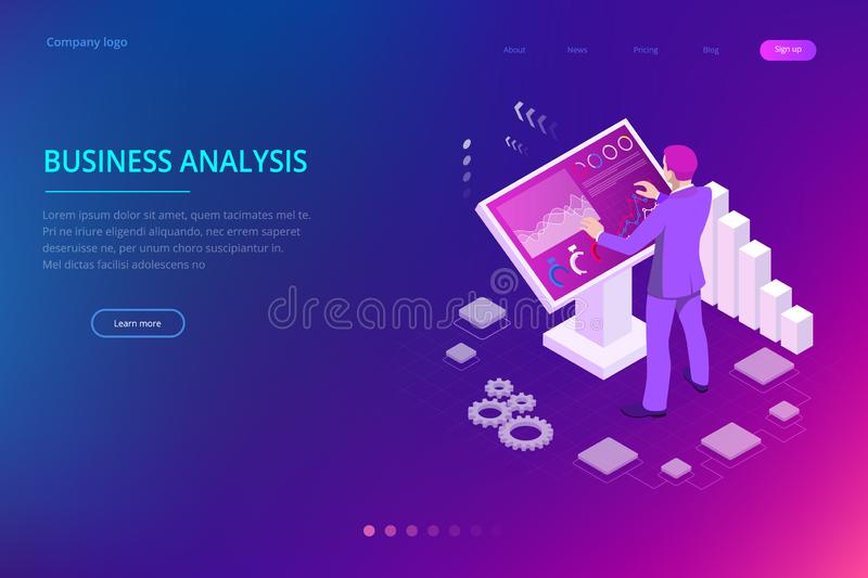 Isometric male in front of the big screen for data analysis. Statistics and business statement, Analytics dashboard. Business analysis concept vector illustration