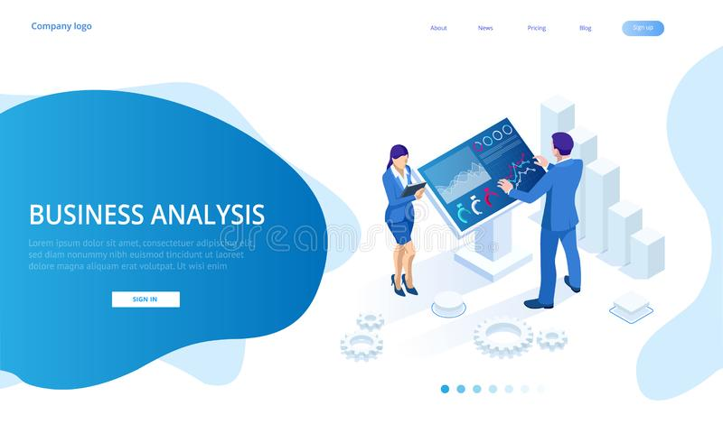 Isometric male in front of the big screen for data analysis. Statistics and business statement, Analytics dashboard. Business analysis concept stock illustration