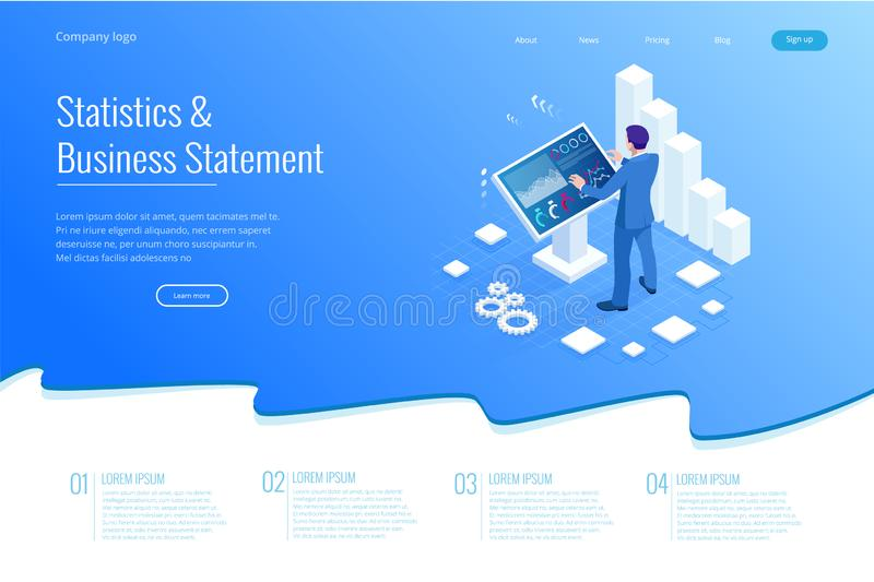 Isometric male in front of the big screen for data analysis. Statistics and business statement, Analytics dashboard stock illustration