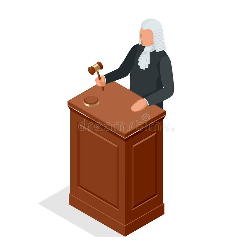 Isometric male judge in a wig with a hammer. Law and justice concept. Vector illustration. Isometric male judge in a wig with a hammer. Law and justice concept vector illustration