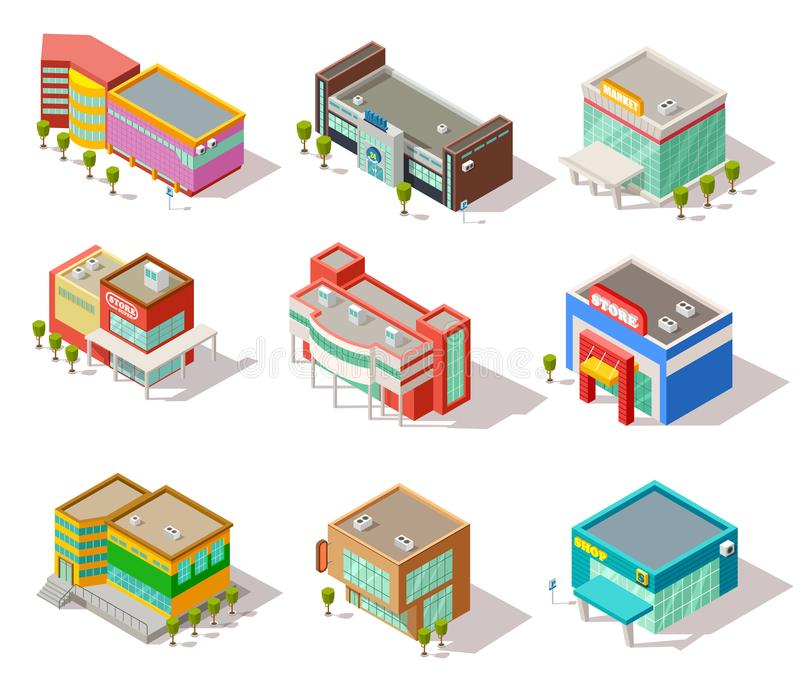 Isometric mall, store, shop and supermarket buildings. Vector city architecture isolated set stock illustration
