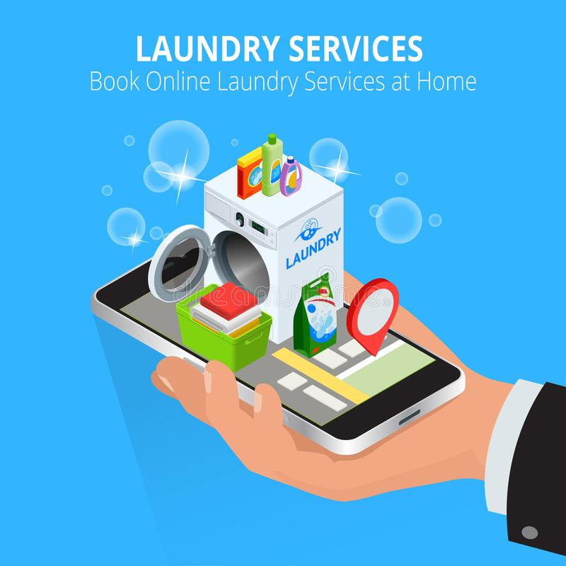 Isometric Man hand using smartphone booking Online Laundry Service. Book Online Laundry Services at Home concept, App on. The screen. Vector illustration stock illustration