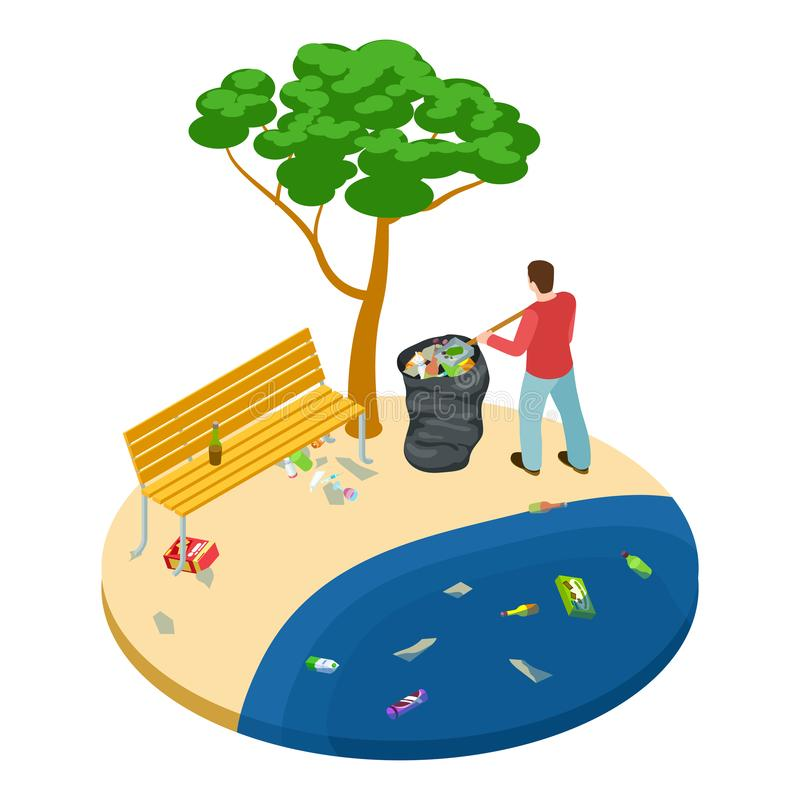 Isometric man picks up trash on the beach, water, ocean and nature pollution vector concept royalty free illustration
