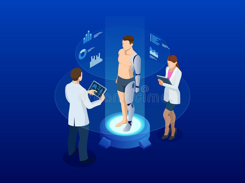 Isometric man with a prosthetic arm and leg. Modern Exoskeleton Prosthetic mechanism. Cyber prosthesis. White plastic or stock illustration
