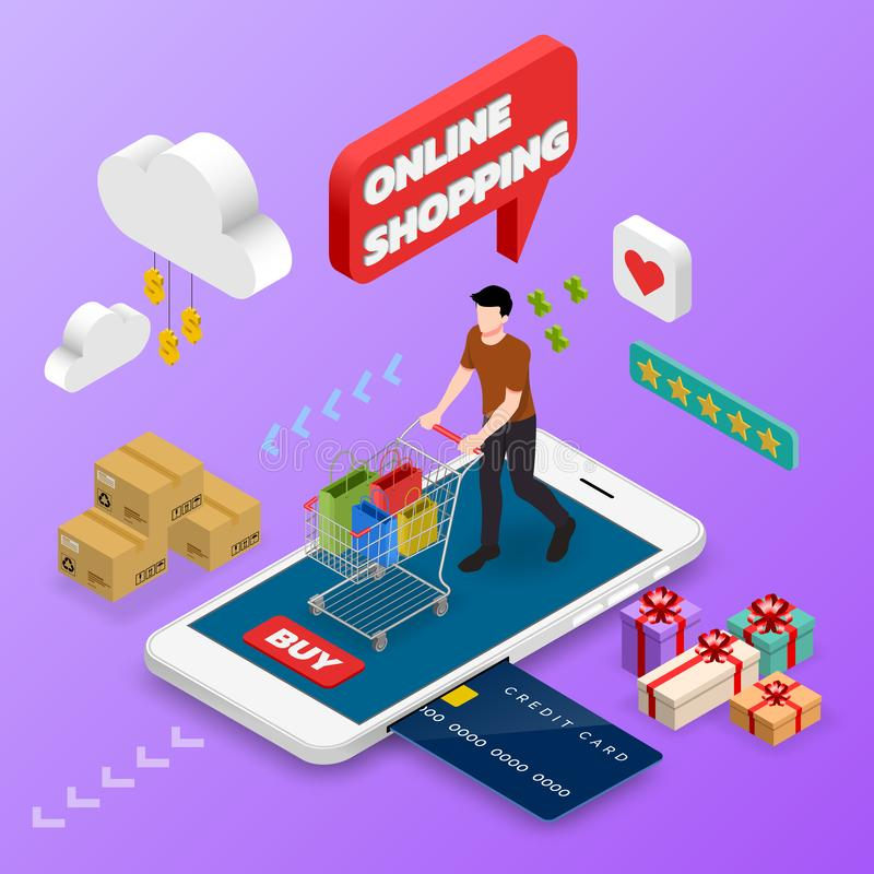 Isometric man shopping on smart phone. E-commerce online concept female person with shopping cart, technology store vector illustration