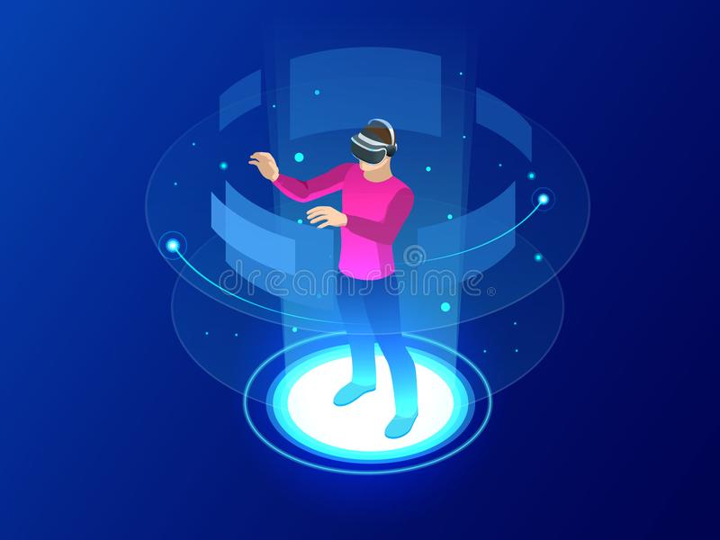 Isometric Man wearing goggle headset with touching vr interface. Into virtual reality world. Future technology. Vector illustration royalty free illustration