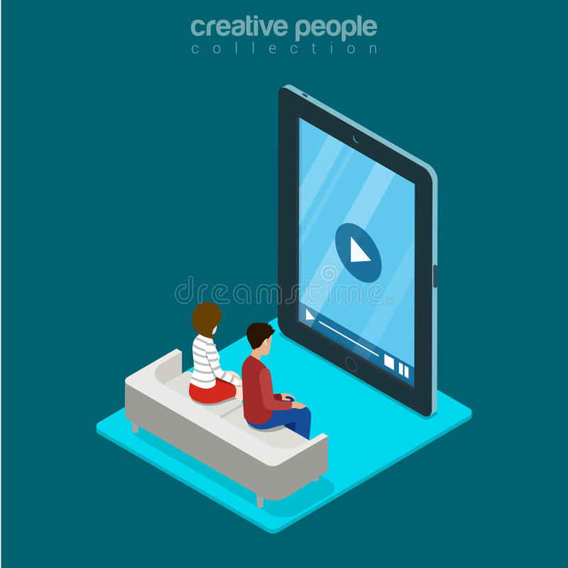 Isometric man woman freeze video phone tablet flat. Isometric man and woman sitting freeze zombie watching video on huge smartphone phone tablet advertising stock illustration