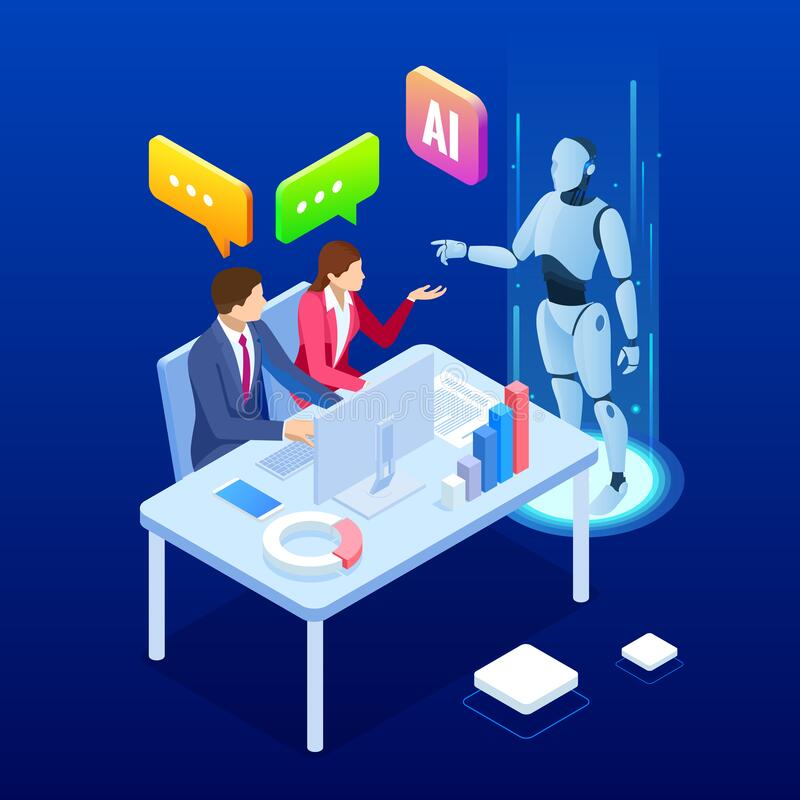 Isometric man and woman with robot artificial intelligence working , robot working with virtual display. RPA, artificial. Intelligence, robotics process stock illustration