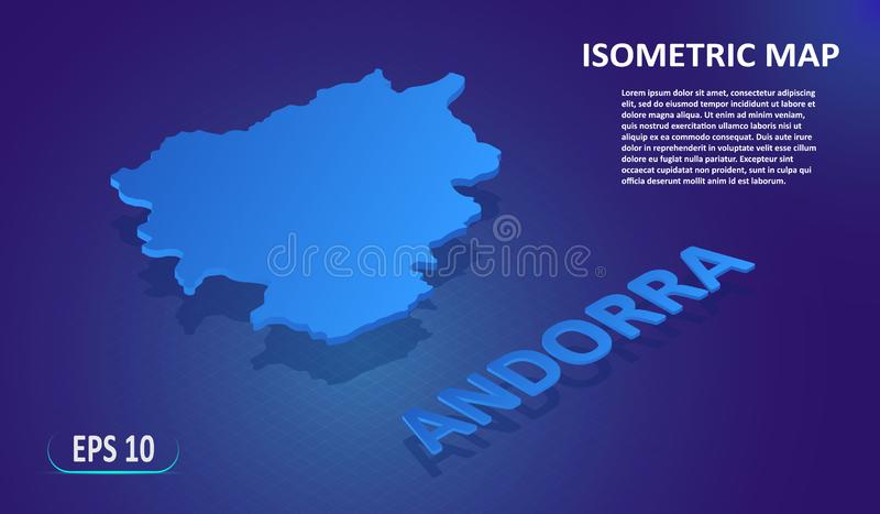 Isometric map of the ANDORRA. Stylized flat map of the country on blue background. Modern isometric or 3d location map stock illustration