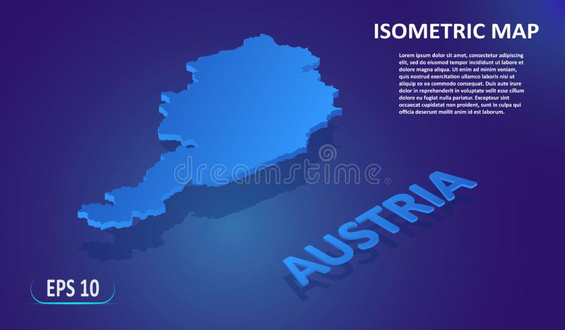 Isometric map of the AUSTRIA. Stylized flat map of the country on blue background. Modern isometric 3d location map with stock illustration