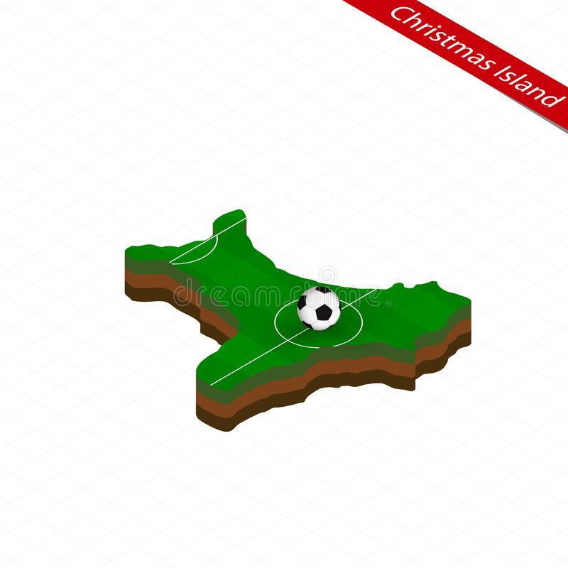 Isometric map of Christmas Island with soccer field. Football ball in center of football pitch. Vector soccer illustration stock illustration