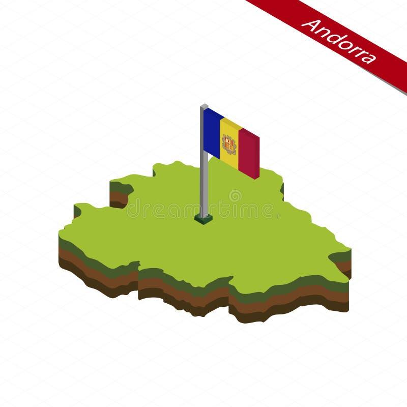 Andorra Isometric map and flag. Vector Illustration stock illustration