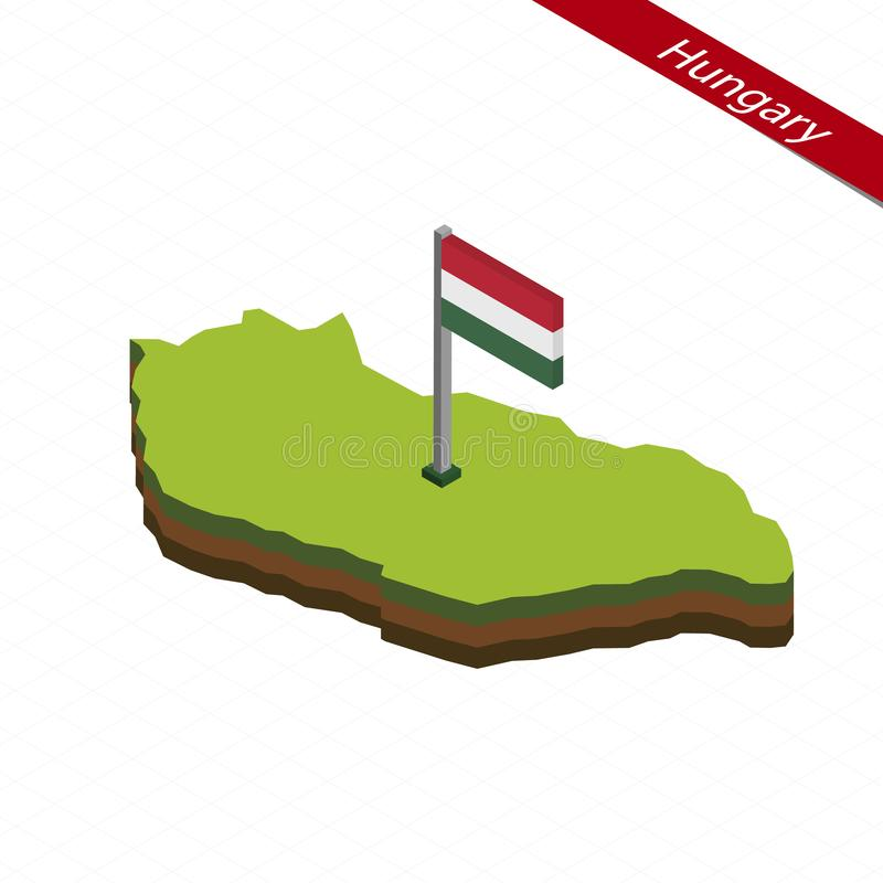 Hungary Isometric map and flag. Vector Illustration stock illustration
