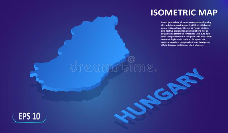 Isometric map of the HUNGARY. Stylized flat map of the country on blue background. Modern isometric 3d location map with place for vector illustration
