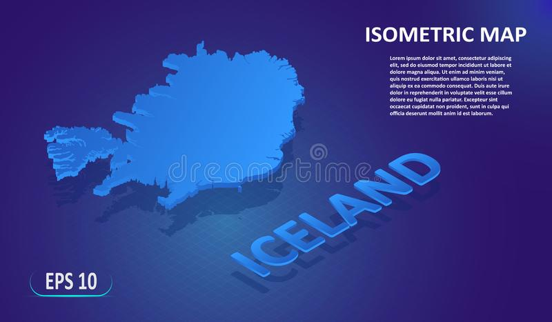 Isometric map of the ICELAND. Stylized flat map of the country on blue background. Modern isometric 3d location map with place for royalty free illustration