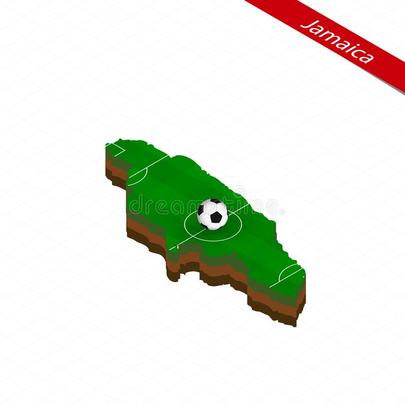 Isometric map of Jamaica with soccer field. Football ball in center of football pitch. Vector soccer illustration stock illustration