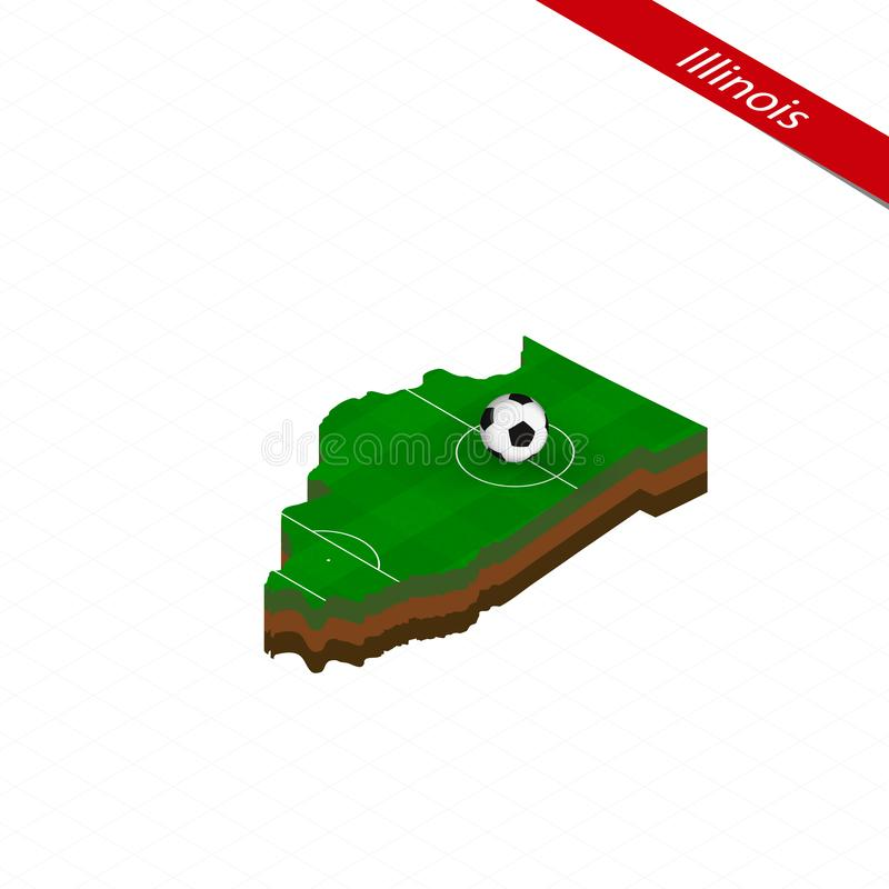 Isometric map of US state Illinois with soccer field. Football ball in center of football pitch vector illustration