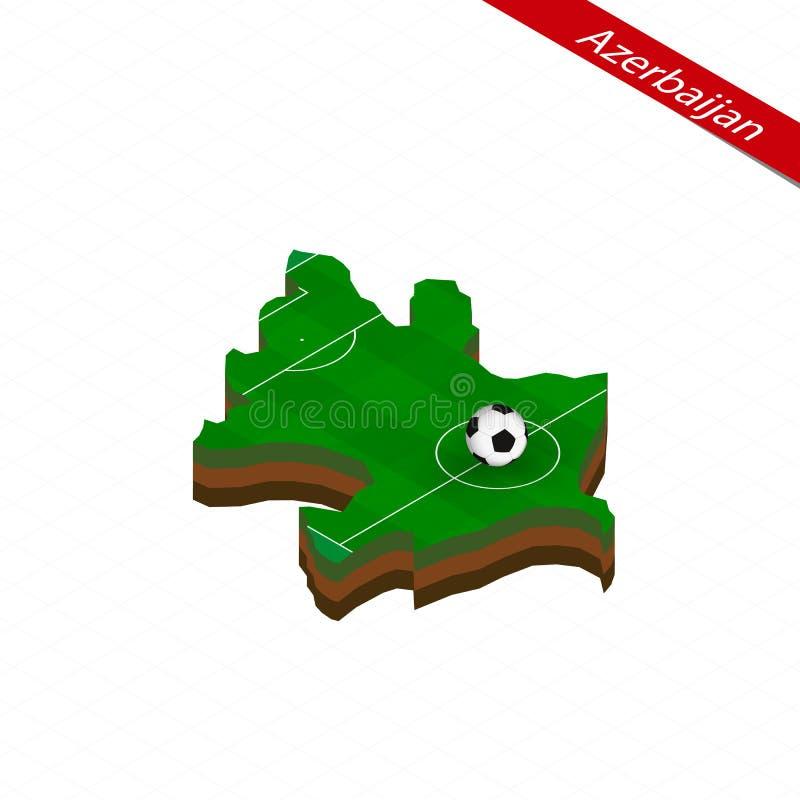 Isometric mapa Azerbejdżan z boiskiem do piłki nożnej Futbolowa piłka w centrum futbolowa smoła royalty ilustracja