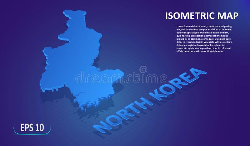 Isometric mapa korea północna Stylizowana płaska mapa kraj na błękitnym tle Nowożytna isometric 3d lokacji mapa z miejscem royalty ilustracja