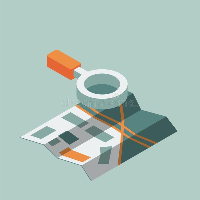 Isometric mapa z magnifier ilustracja wektor